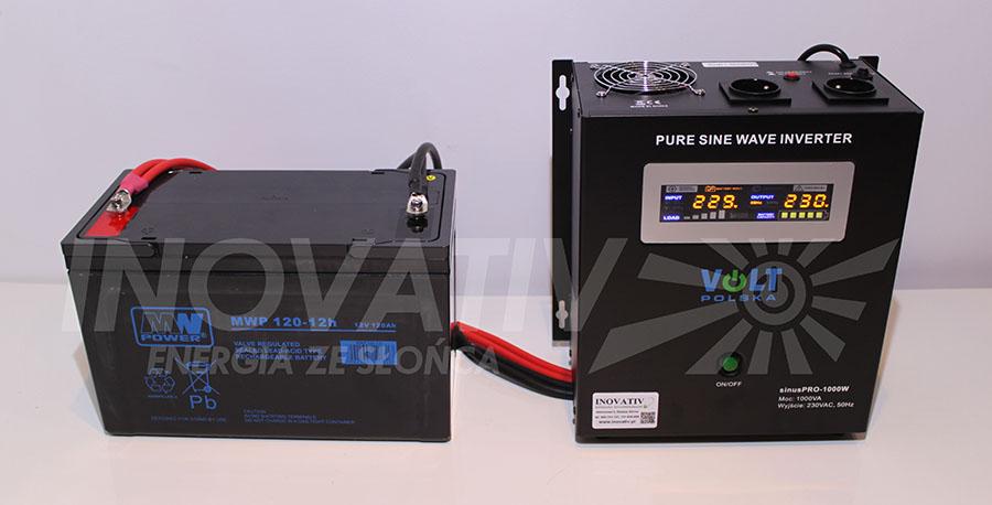 Zestaw STANDARD - przetwornica SinusPro 1000W + akumulator 120 Ah