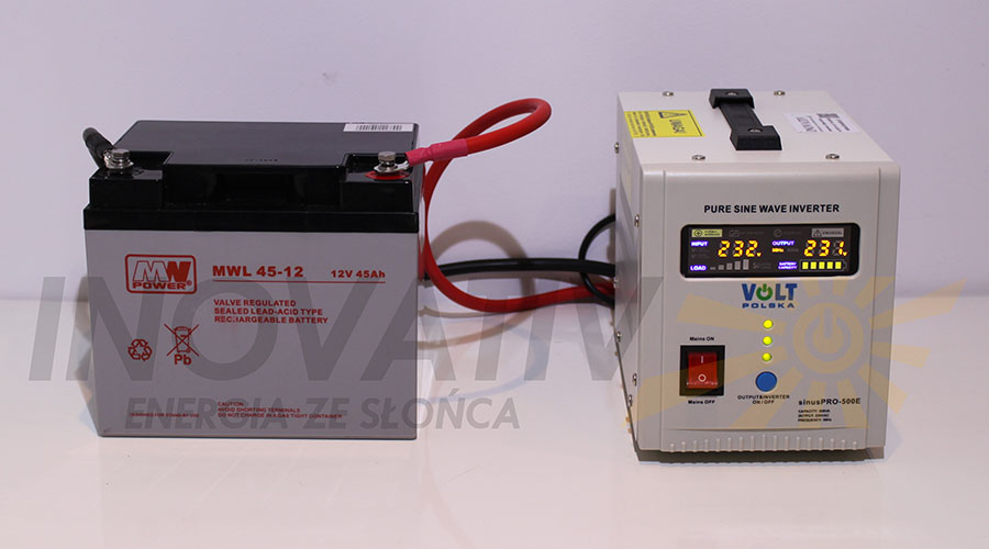 Zestaw KOMPAKT - przetwornica SinusPro 500E + akumulator 45 Ah
